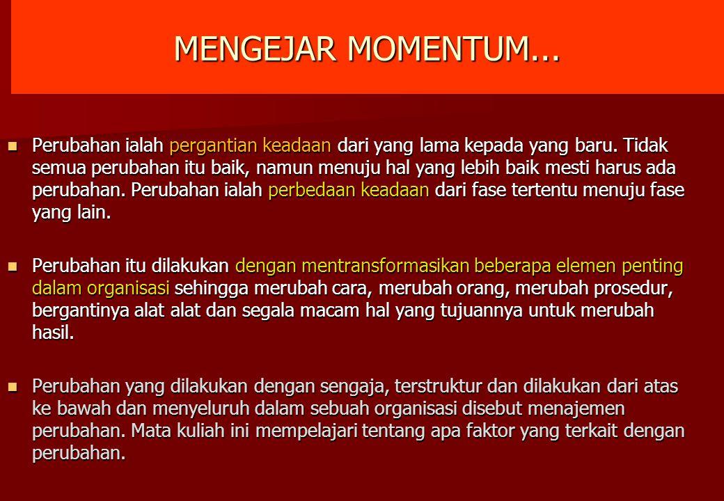 MENGEJAR MOMENTUM... Perubahan ialah pergantian keadaan dari yang lama kepada yang baru. Tidak semua perubahan itu baik, namun menuju hal yang lebih b