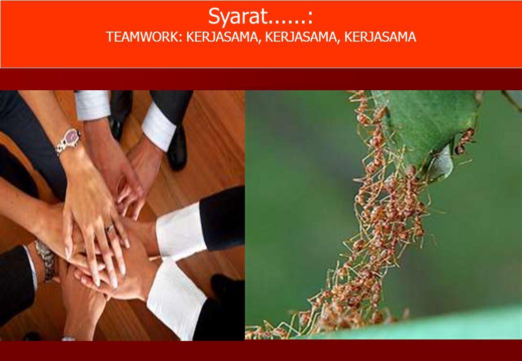 Syarat......: TEAMWORK: KERJASAMA, KERJASAMA, KERJASAMA