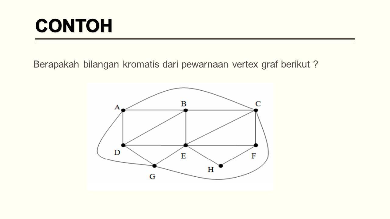 Berapakah bilangan kromatis dari pewarnaan vertex graf berikut ?