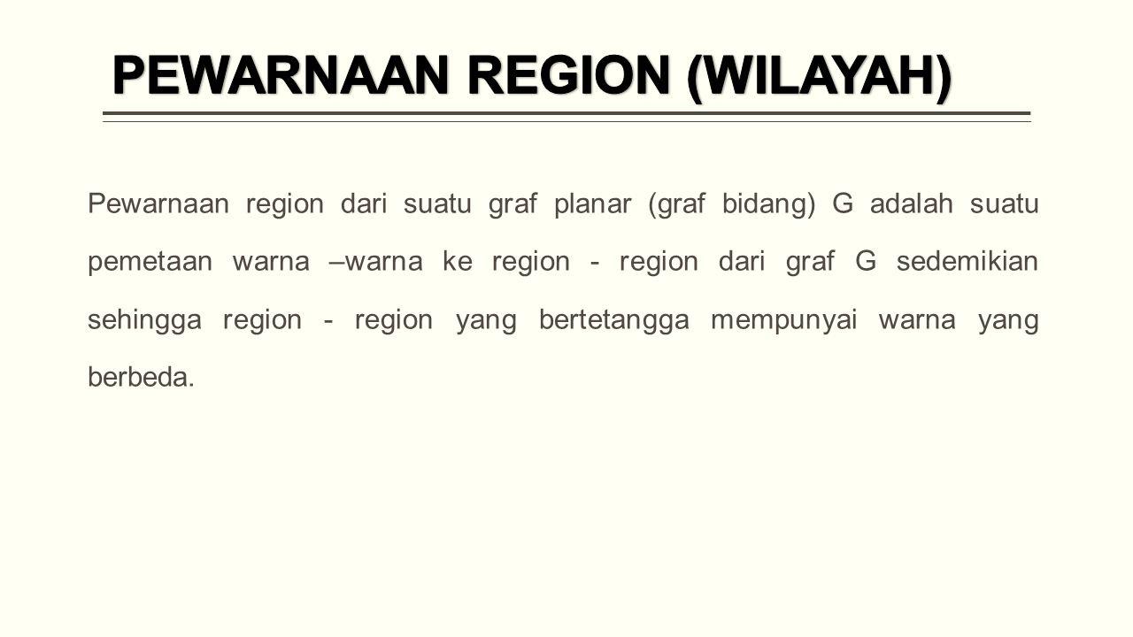 Pewarnaan region dari suatu graf planar (graf bidang) G adalah suatu pemetaan warna –warna ke region - region dari graf G sedemikian sehingga region - region yang bertetangga mempunyai warna yang berbeda.