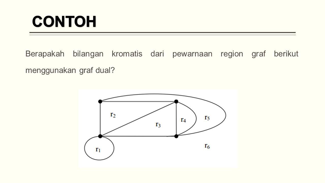 Berapakah bilangan kromatis dari pewarnaan region graf berikut menggunakan graf dual?