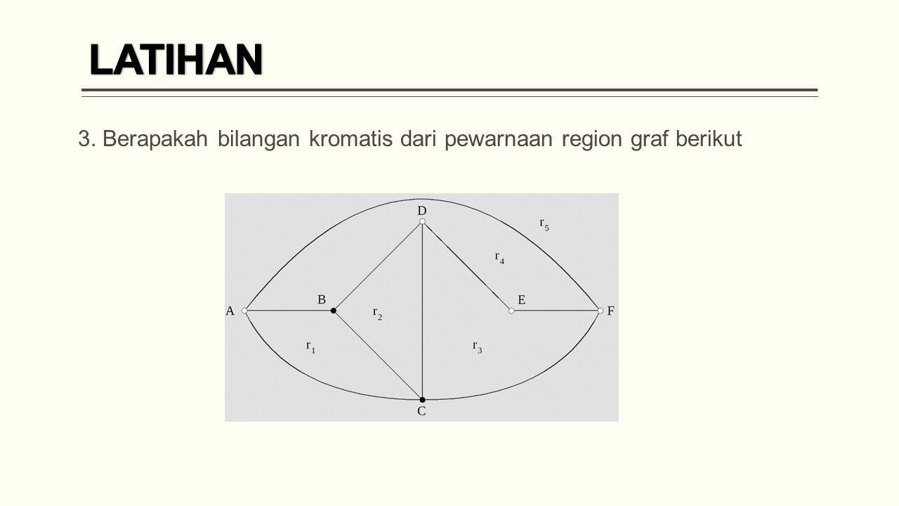 3. Berapakah bilangan kromatis dari pewarnaan region graf berikut
