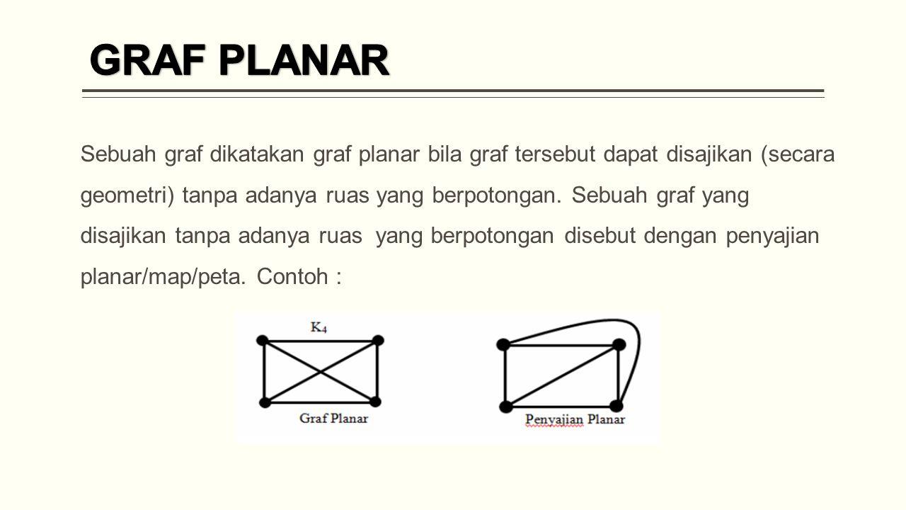 Sebuah graf dikatakan graf planar bila graf tersebut dapat disajikan (secara geometri) tanpa adanya ruas yang berpotongan.