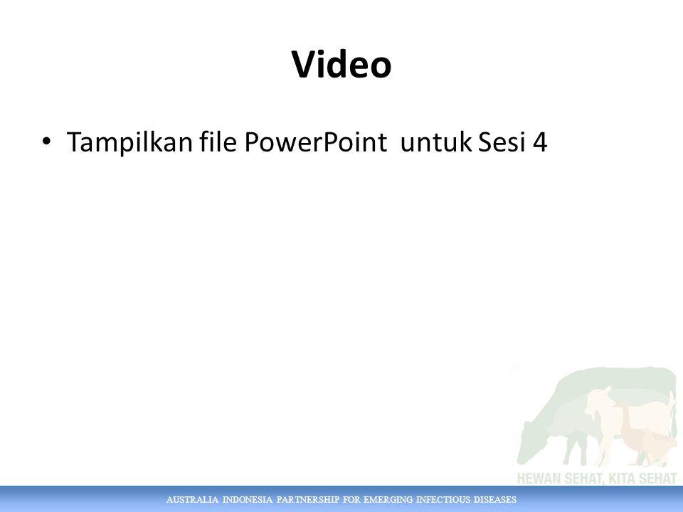 AUSTRALIA INDONESIA PARTNERSHIP FOR EMERGING INFECTIOUS DISEASES Video Tampilkan file PowerPoint untuk Sesi 4