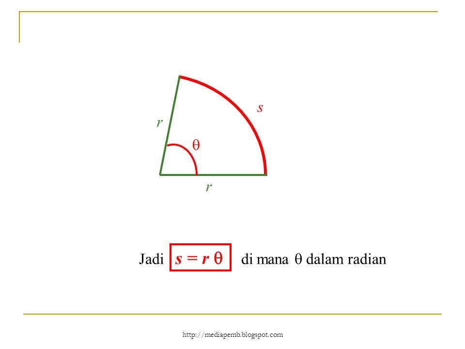http://mediapemb.blogspot.com s r r  Jadi s = r  di mana  dalam radian