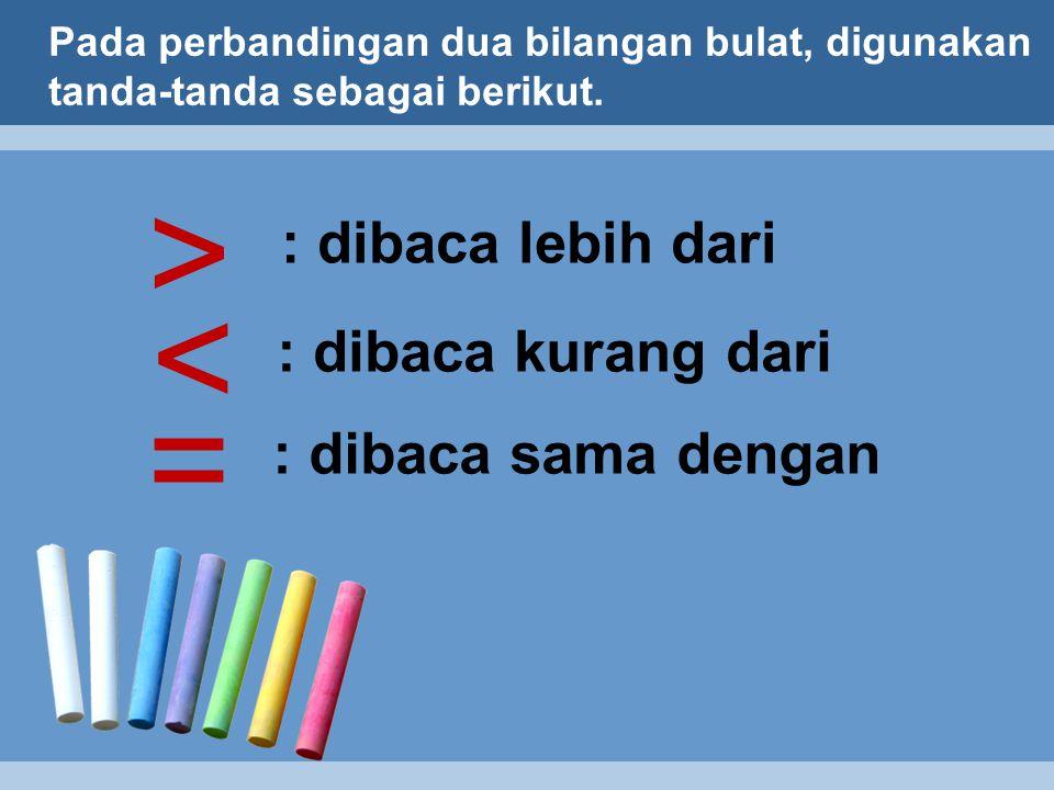 Pada perbandingan dua bilangan bulat, digunakan tanda-tanda sebagai berikut.