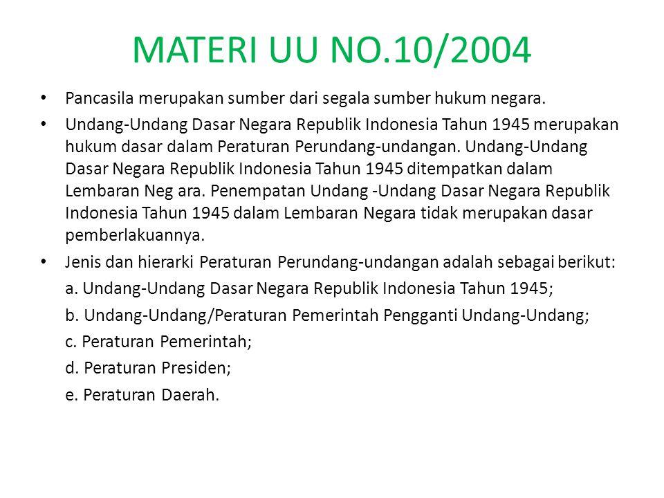 MATERI UU NO.10/2004 Pancasila merupakan sumber dari segala sumber hukum negara. Undang-Undang Dasar Negara Republik Indonesia Tahun 1945 merupakan hu