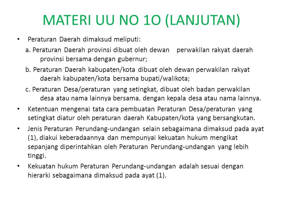 MATERI UU NO 1O (LANJUTAN) Peraturan Daerah dimaksud meliputi: a.