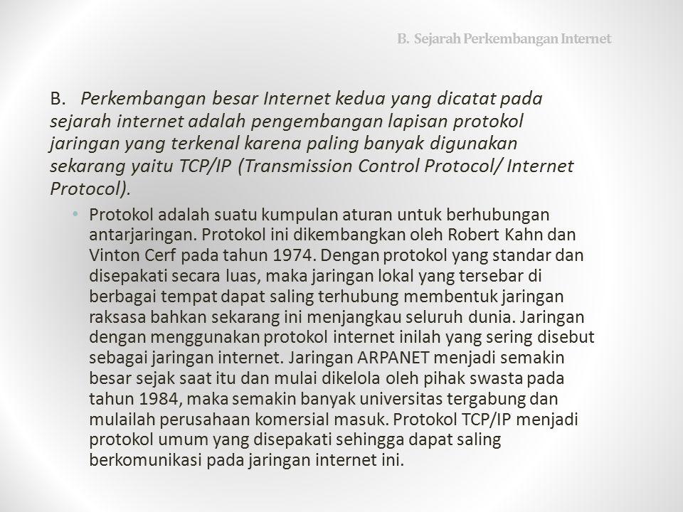 B.Sejarah Perkembangan Internet B.