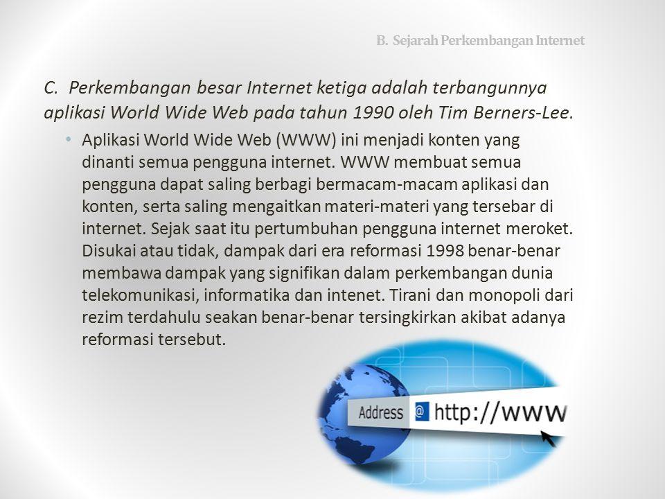 B.Sejarah Perkembangan Internet C.