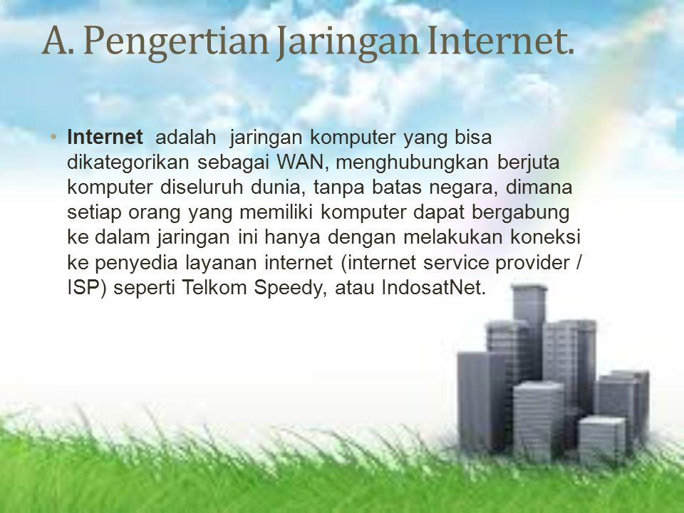 Jenis-jenis jariangan internet Pada sebagian besar WAN, subnet terdiri dari dua komponen, yaitu kabel transmisi dan elemen switching.