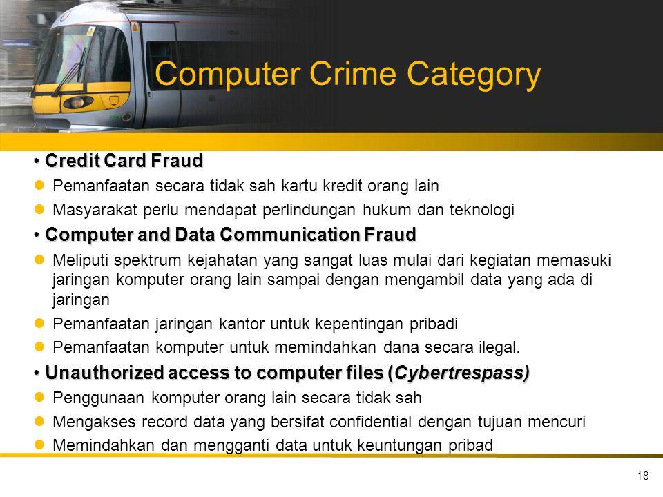 Computer Crime Category Credit Card Fraud Credit Card Fraud Pemanfaatan secara tidak sah kartu kredit orang lain Masyarakat perlu mendapat perlindunga