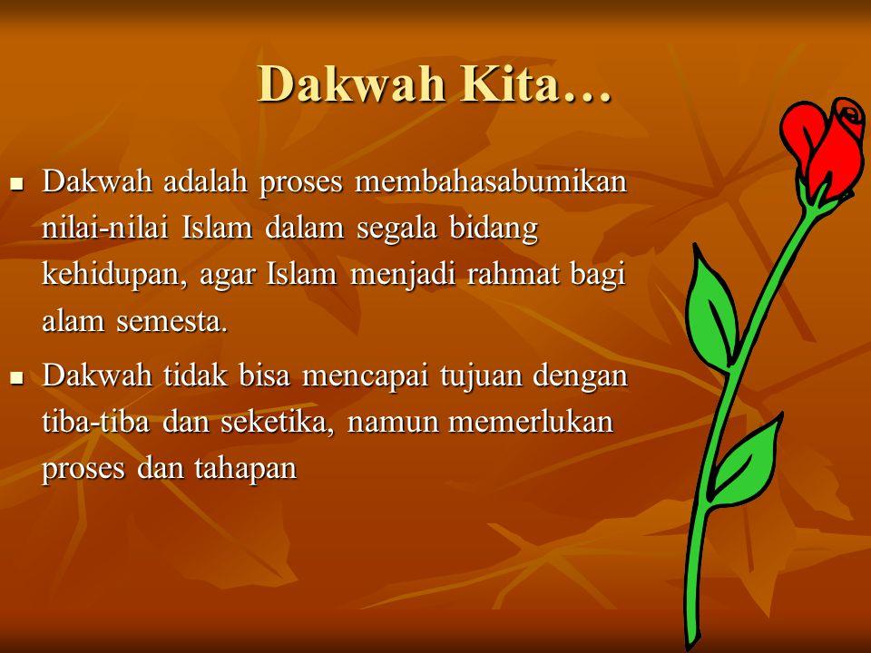 Dakwah Kita… Dakwah adalah proses membahasabumikan nilai-nilai Islam dalam segala bidang kehidupan, agar Islam menjadi rahmat bagi alam semesta. Dakwa