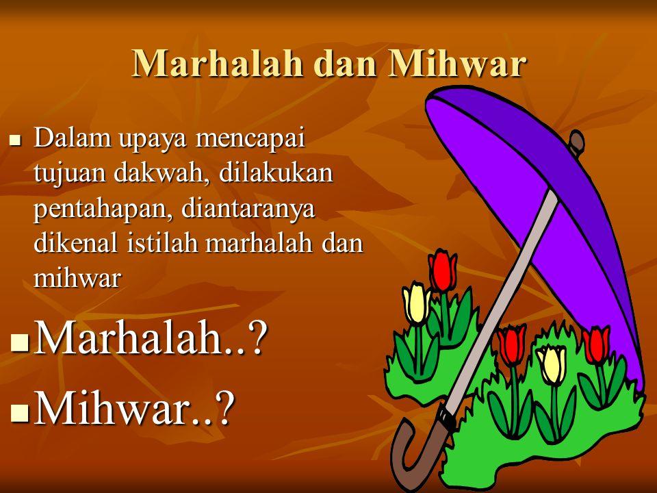 Marhalah dan Mihwar Dalam upaya mencapai tujuan dakwah, dilakukan pentahapan, diantaranya dikenal istilah marhalah dan mihwar Dalam upaya mencapai tuj