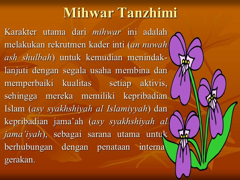 Mihwar Tanzhimi Karakter utama dari mihwar ini adalah melakukan rekrutmen kader inti (an nuwah ash shulbah) untuk kemudian menindak- lanjuti dengan se