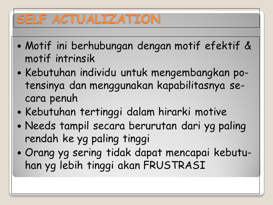 SELF ACTUALIZATION Motif ini berhubungan dengan motif efektif & motif intrinsik Kebutuhan individu untuk mengembangkan po- tensinya dan menggunakan ka