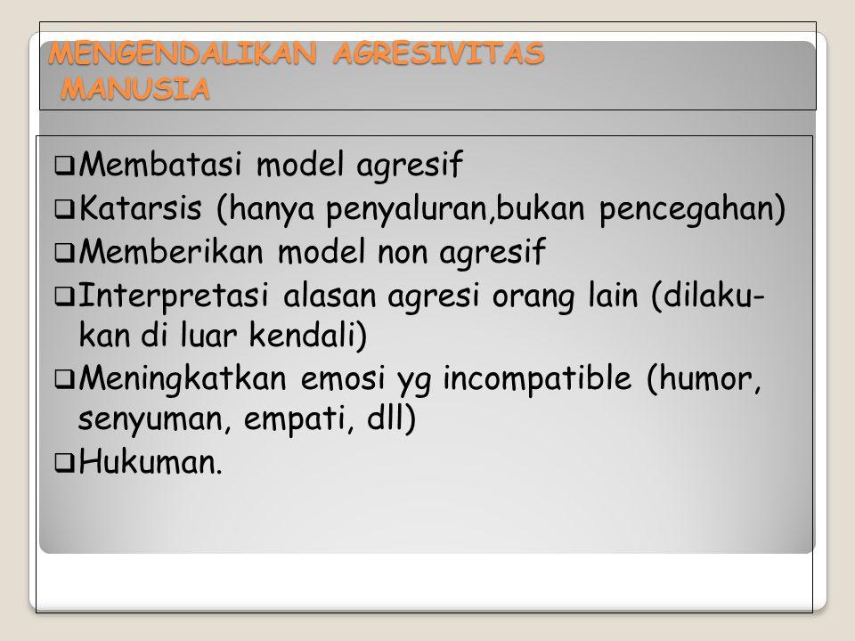 MENGENDALIKAN AGRESIVITAS MANUSIA  Membatasi model agresif  Katarsis (hanya penyaluran,bukan pencegahan)  Memberikan model non agresif  Interpreta