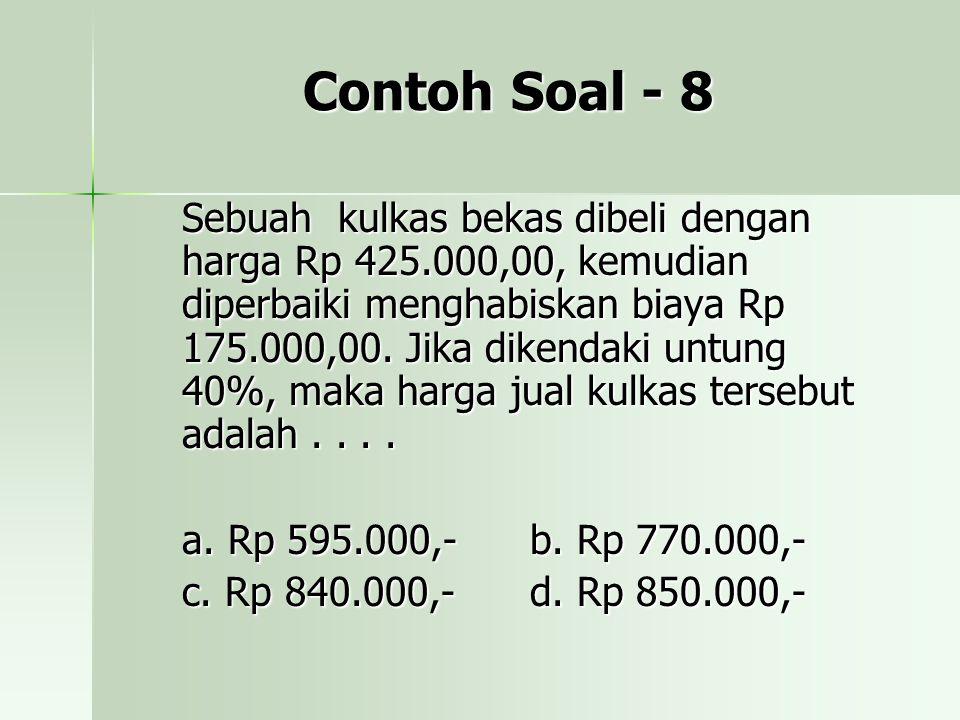 Contoh Soal - 8 Sebuah kulkas bekas dibeli dengan harga Rp 425.000,00, kemudian diperbaiki menghabiskan biaya Rp 175.000,00. Jika dikendaki untung 40%