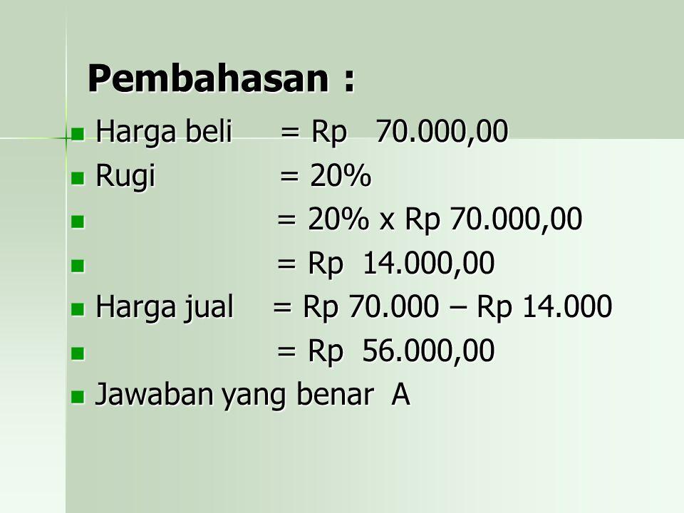 Pembahasan : Harga beli = Rp 70.000,00 Rugi = 20% = = 20% x Rp 70.000,00 Rp 14.000,00 Harga jual = Rp 70.000 – Rp 14.000 Rp 56.000,00 Jawaban yang benar A