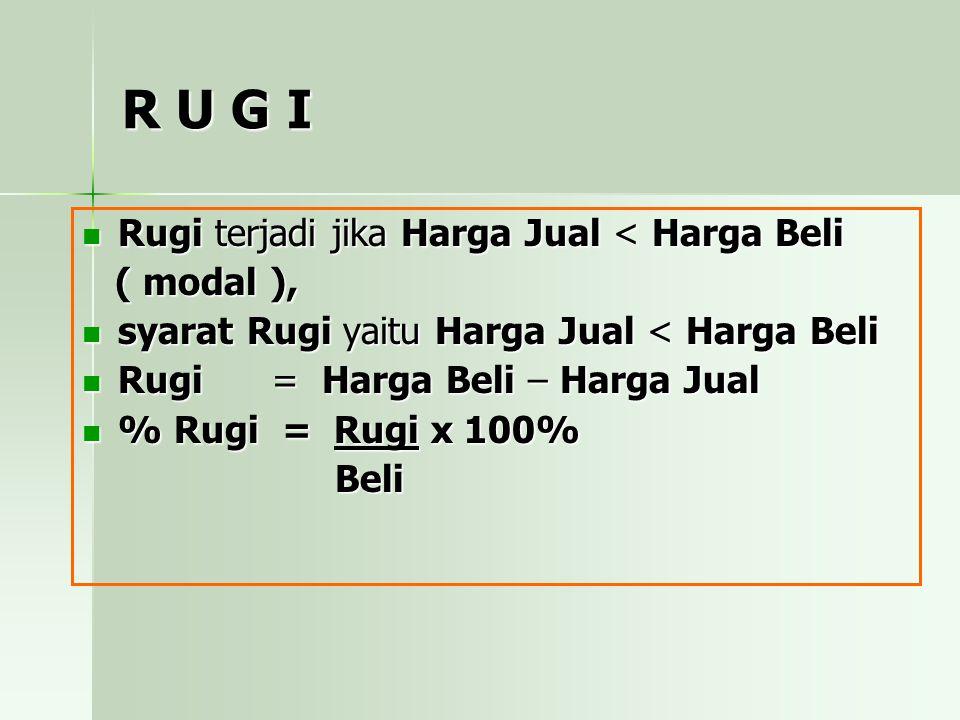 R U G I Rugi terjadi jika Harga Jual < Harga Beli ( modal ), syarat Rugi yaitu Harga Jual < Harga Beli Rugi = = Harga Beli – Harga Jual % Rugi = Rugi x 100% Beli