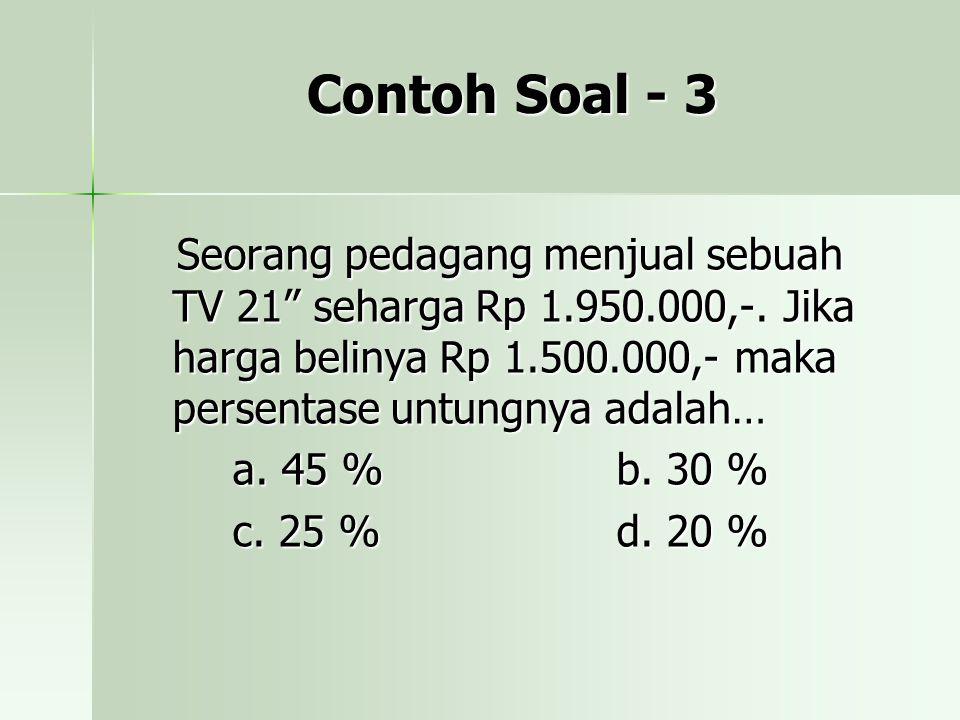 Contoh Soal - 3 Seorang pedagang menjual sebuah TV 21 seharga Rp 1.950.000,-.