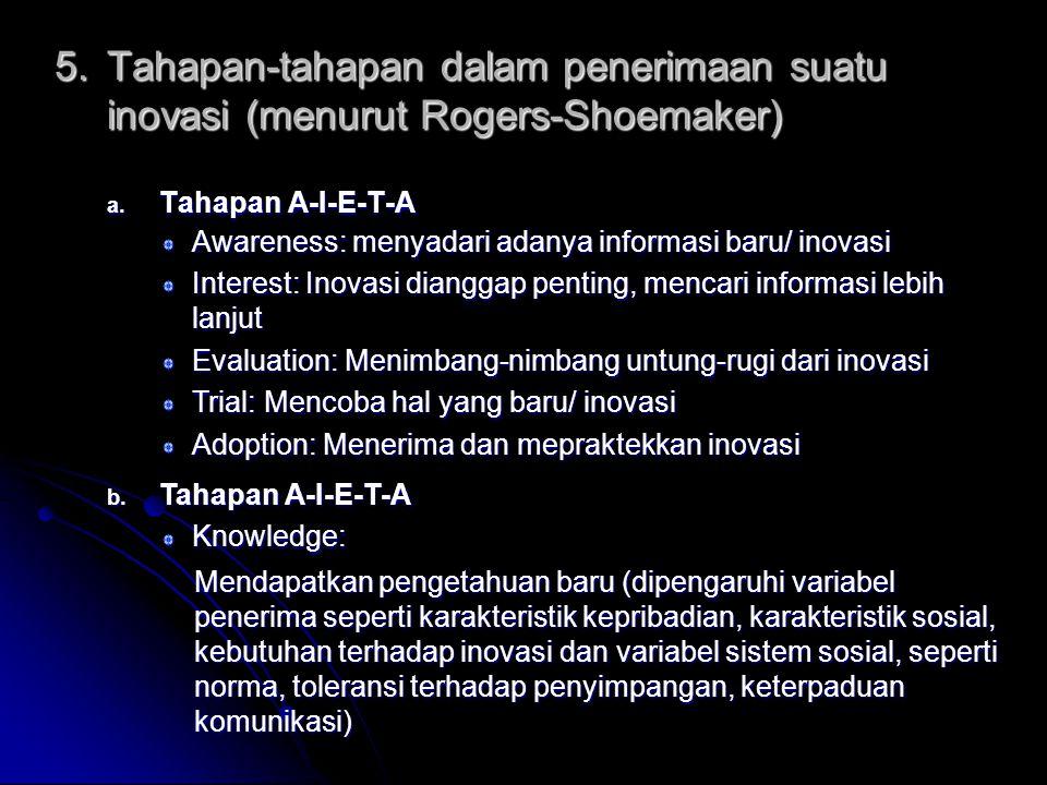 a.Tahapan A-I-E-T-A 5.Tahapan-tahapan dalam penerimaan suatu inovasi (menurut Rogers-Shoemaker) b.
