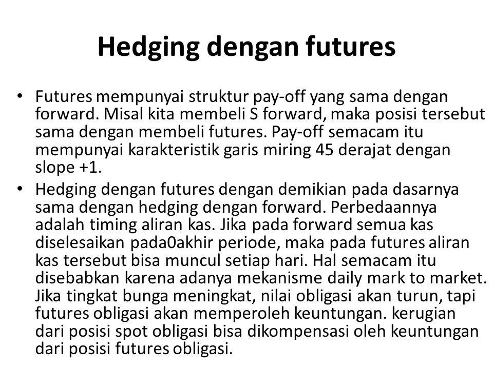 Hedging dengan futures Futures mempunyai struktur pay-off yang sama dengan forward. Misal kita membeli S forward, maka posisi tersebut sama dengan mem