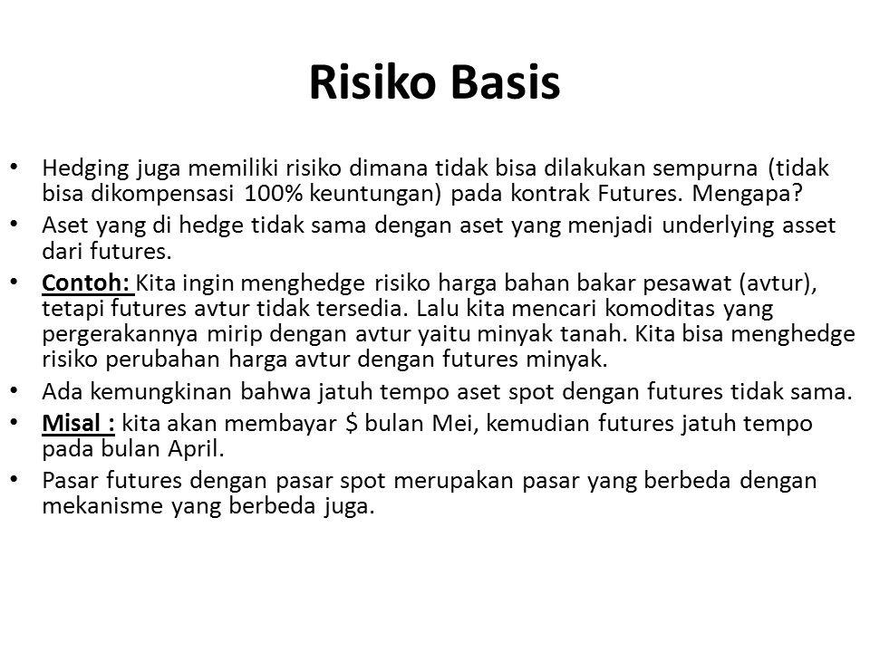 Risiko Basis Hedging juga memiliki risiko dimana tidak bisa dilakukan sempurna (tidak bisa dikompensasi 100% keuntungan) pada kontrak Futures. Mengapa