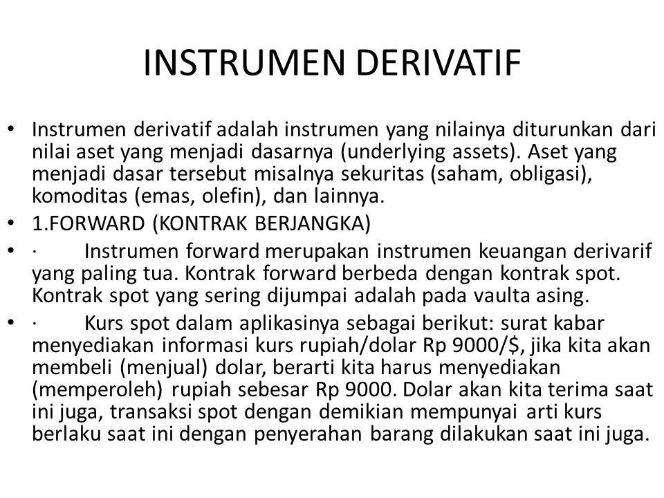 INSTRUMEN DERIVATIF Instrumen derivatif adalah instrumen yang nilainya diturunkan dari nilai aset yang menjadi dasarnya (underlying assets). Aset yang