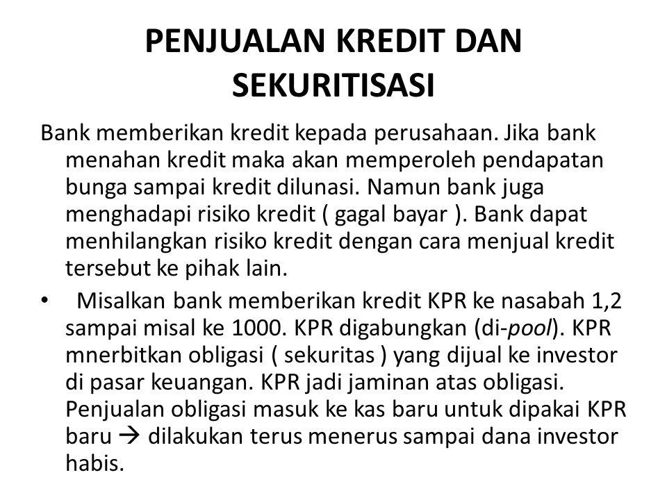 PENJUALAN KREDIT DAN SEKURITISASI Bank memberikan kredit kepada perusahaan. Jika bank menahan kredit maka akan memperoleh pendapatan bunga sampai kred