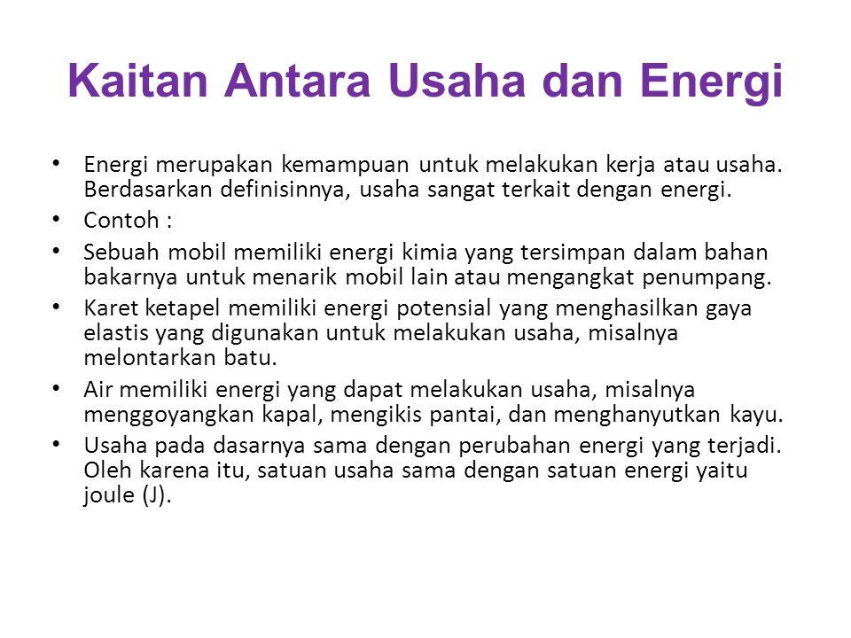 Kaitan Antara Usaha dan Energi Energi merupakan kemampuan untuk melakukan kerja atau usaha. Berdasarkan definisinnya, usaha sangat terkait dengan ener