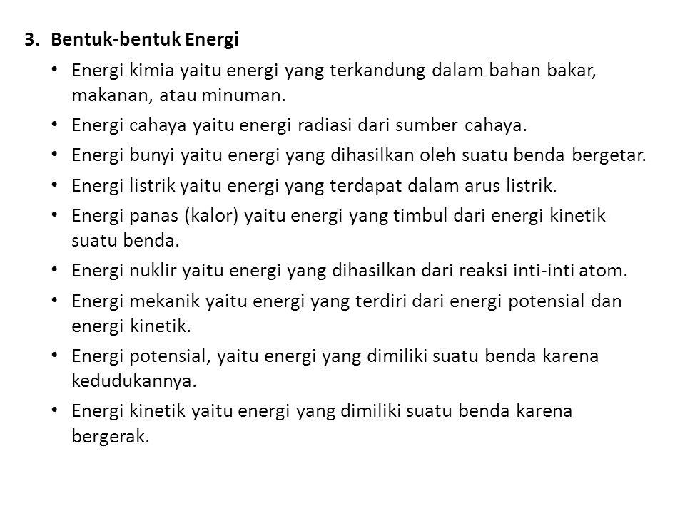 3.Bentuk-bentuk Energi Energi kimia yaitu energi yang terkandung dalam bahan bakar, makanan, atau minuman. Energi cahaya yaitu energi radiasi dari sum