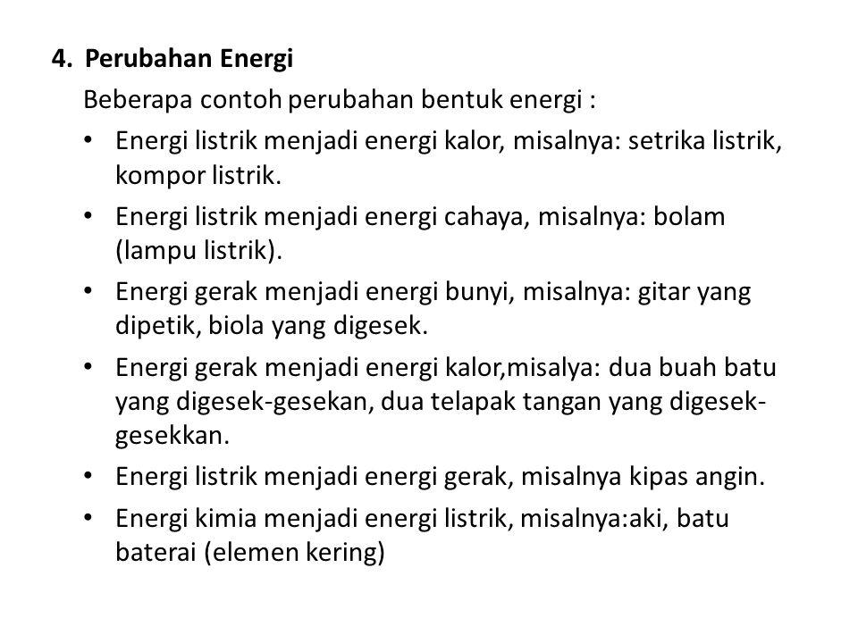 4.Perubahan Energi Beberapa contoh perubahan bentuk energi : Energi listrik menjadi energi kalor, misalnya: setrika listrik, kompor listrik. Energi li