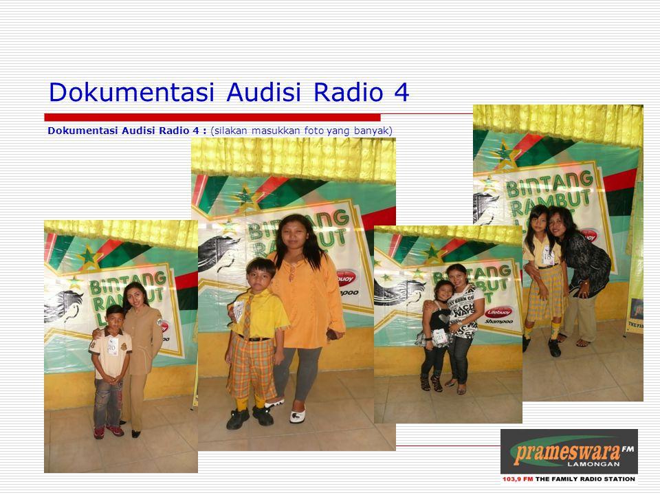 Dokumentasi Audisi Radio 4 Dokumentasi Audisi Radio 4 : (silakan masukkan foto yang banyak) Logo Radio