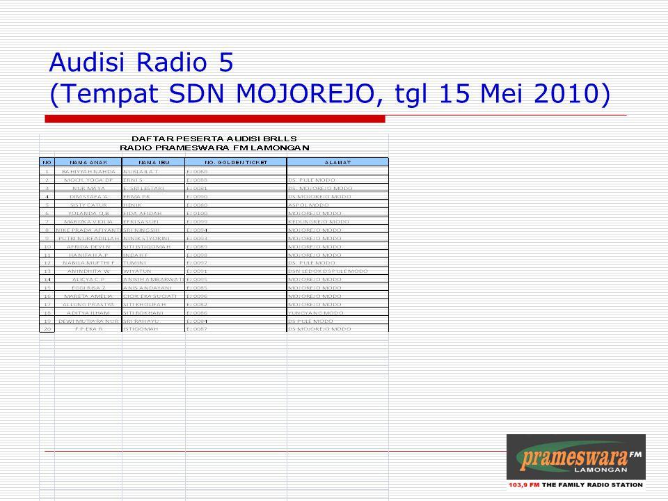 Audisi Radio 5 (Tempat SDN MOJOREJO, tgl 15 Mei 2010) Logo Radio