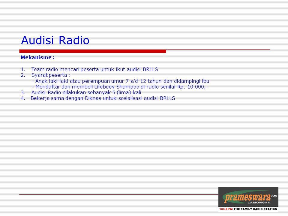Logo Radio Audisi Radio Mekanisme : 1.Team radio mencari peserta untuk ikut audisi BRLLS 2.Syarat peserta : - Anak laki-laki atau perempuan umur 7 s/d 12 tahun dan didampingi ibu - Mendaftar dan membeli Lifebuoy Shampoo di radio senilai Rp.