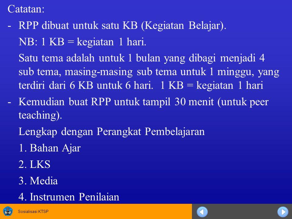 Sosialisasi KTSP Catatan: -RPP dibuat untuk satu KB (Kegiatan Belajar).