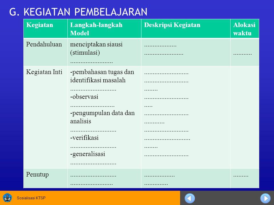 Sosialisasi KTSP H.PENILAIAN 1. Aspek, Metode, dan Istrumen 2.