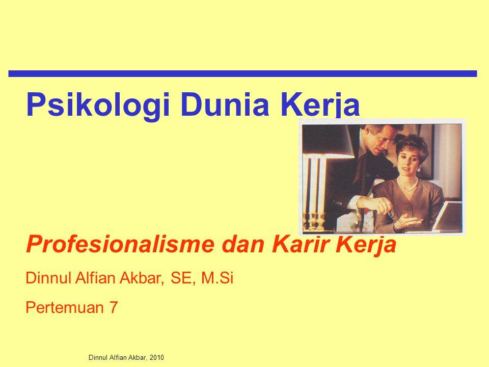 Dinnul Alfian Akbar, 2010 Profesionalisme dan Karir Kerja Dinnul Alfian Akbar, SE, M.Si Pertemuan 7 Psikologi Dunia Kerja