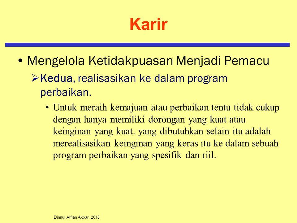 Dinnul Alfian Akbar, 2010 Karir Mengelola Ketidakpuasan Menjadi Pemacu  Kedua, realisasikan ke dalam program perbaikan. Untuk meraih kemajuan atau pe