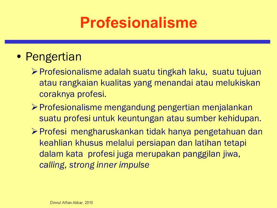 Dinnul Alfian Akbar, 2010 Profesionalisme Pengertian  Professi menuntut pengetahuan/keahlian/keterampilan dan panggilan jiwa untuk berbuat sesuatu sesuai dengan keahliannya.