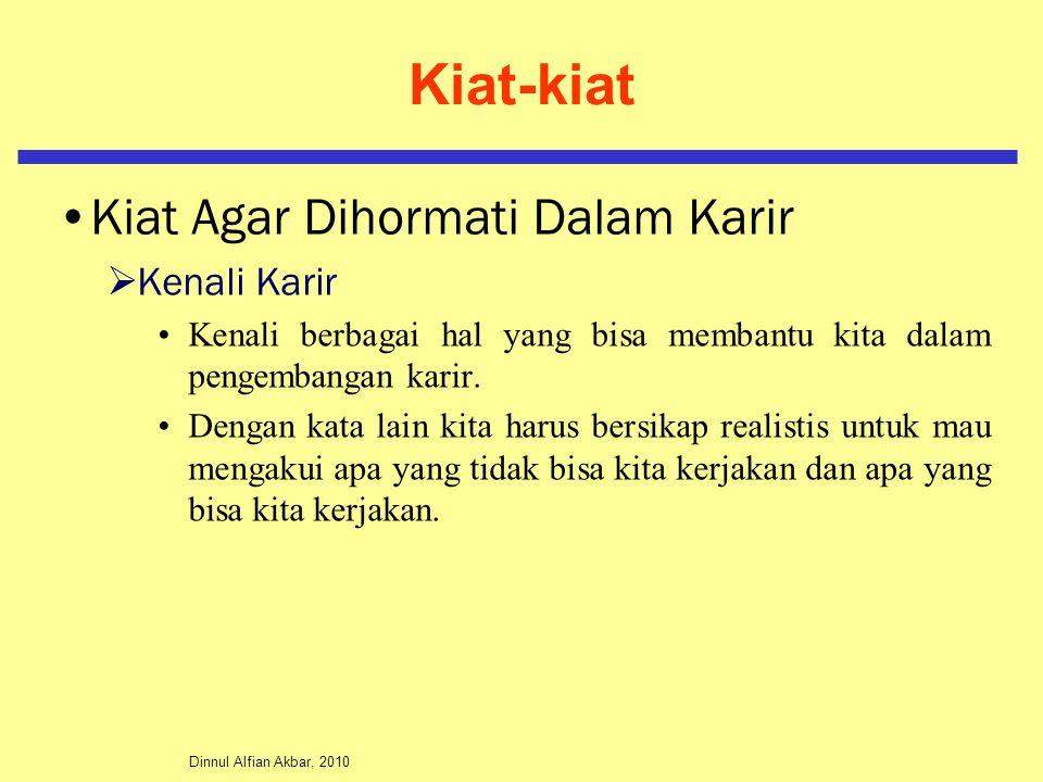 Dinnul Alfian Akbar, 2010 Kiat-kiat Kiat Agar Dihormati Dalam Karir  Kenali Karir Kenali berbagai hal yang bisa membantu kita dalam pengembangan kari