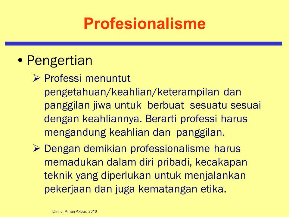 Dinnul Alfian Akbar, 2010 Profesionalisme Pengertian  Professi menuntut pengetahuan/keahlian/keterampilan dan panggilan jiwa untuk berbuat sesuatu se