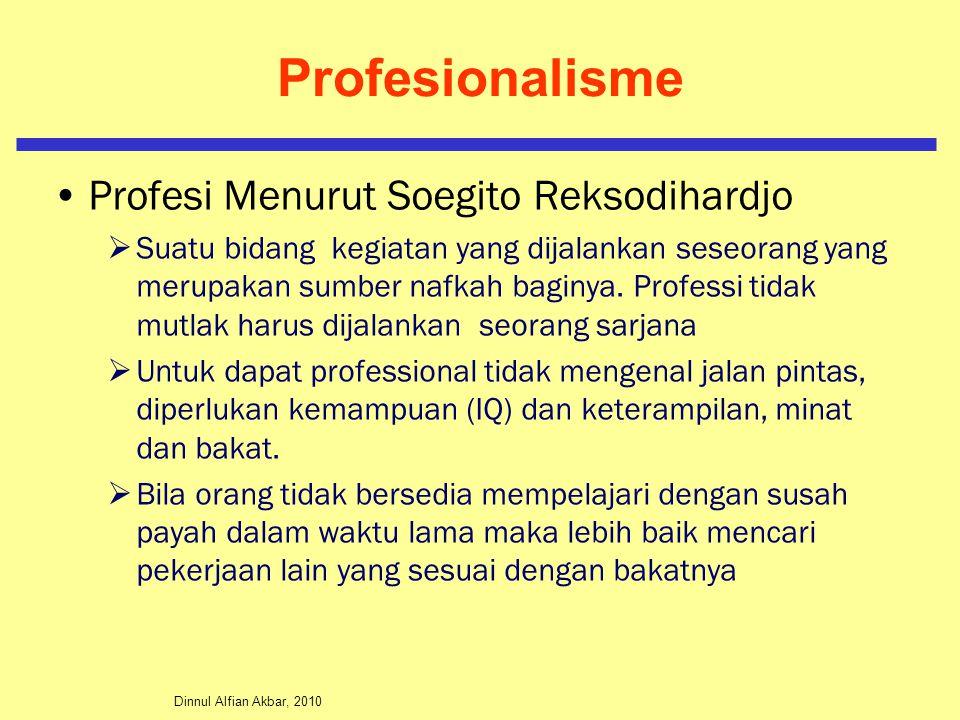 Dinnul Alfian Akbar, 2010 Profesionalisme Profesi Menurut Soegito Reksodihardjo  Suatu bidang kegiatan yang dijalankan seseorang yang merupakan sumbe