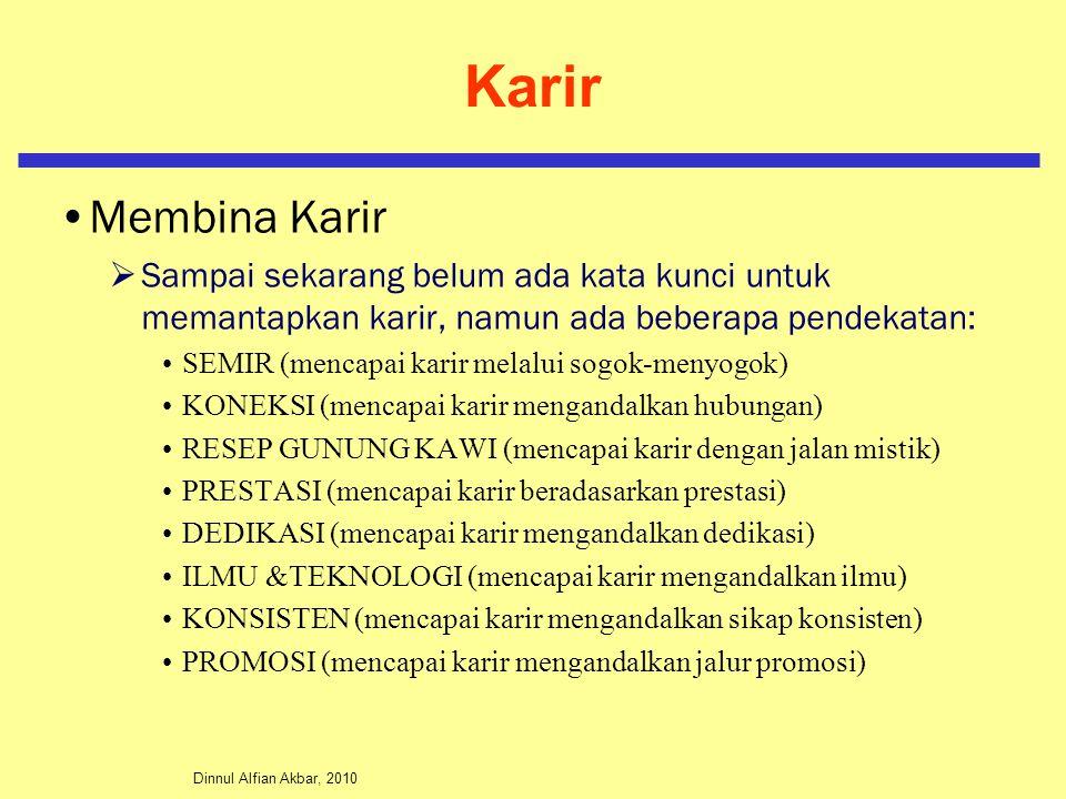 Dinnul Alfian Akbar, 2010 Karir Membina Karir  Sampai sekarang belum ada kata kunci untuk memantapkan karir, namun ada beberapa pendekatan: SEMIR (me