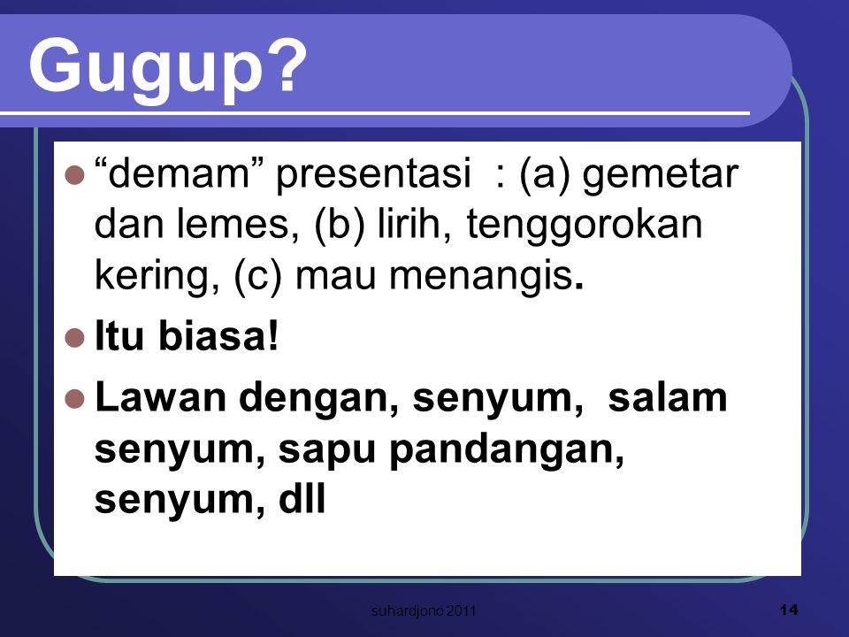 Gugup. demam presentasi : (a) gemetar dan lemes, (b) lirih, tenggorokan kering, (c) mau menangis.