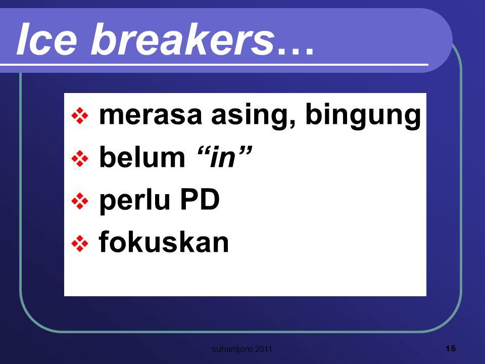 Ice breakers …  merasa asing, bingung  belum in  perlu PD  fokuskan 15 suhardjono 2011