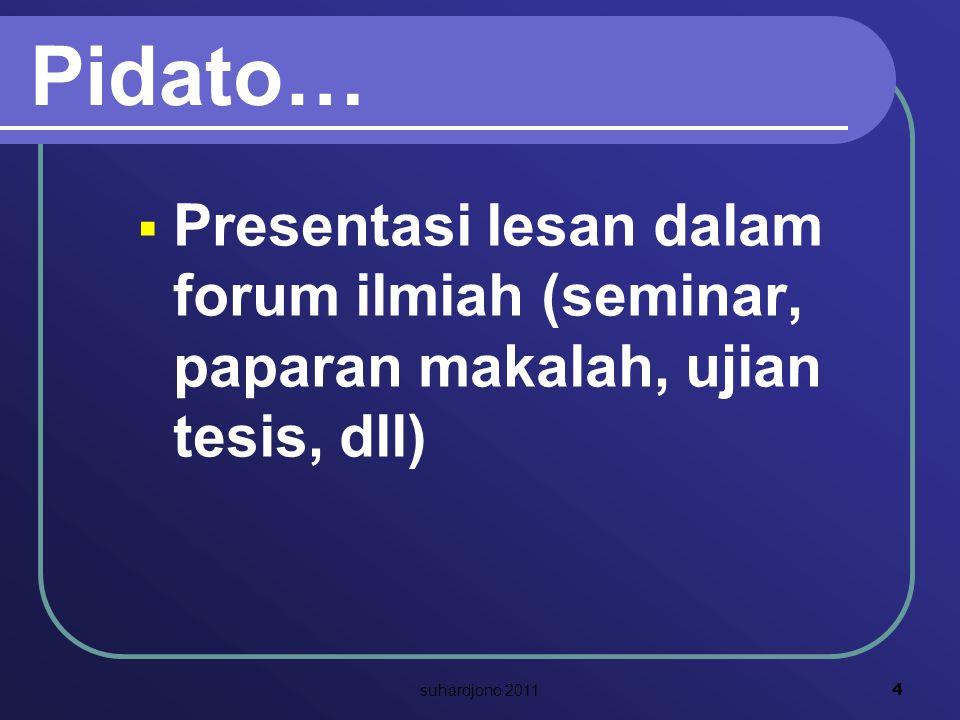 Pidato…  Presentasi lesan dalam forum ilmiah (seminar, paparan makalah, ujian tesis, dll) 4 suhardjono 2011