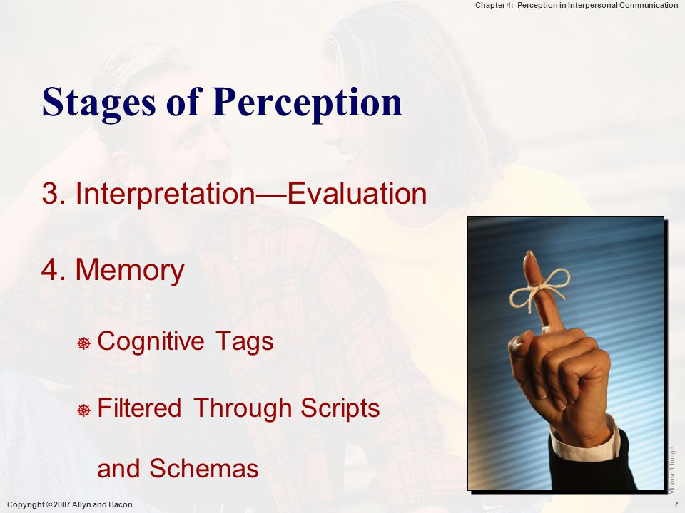 Chapter 4: Perception in Interpersonal Communication Copyright © 2007 Allyn and Bacon7 Stages of Perception 3. Interpretation—Evaluation 4. Memory  C