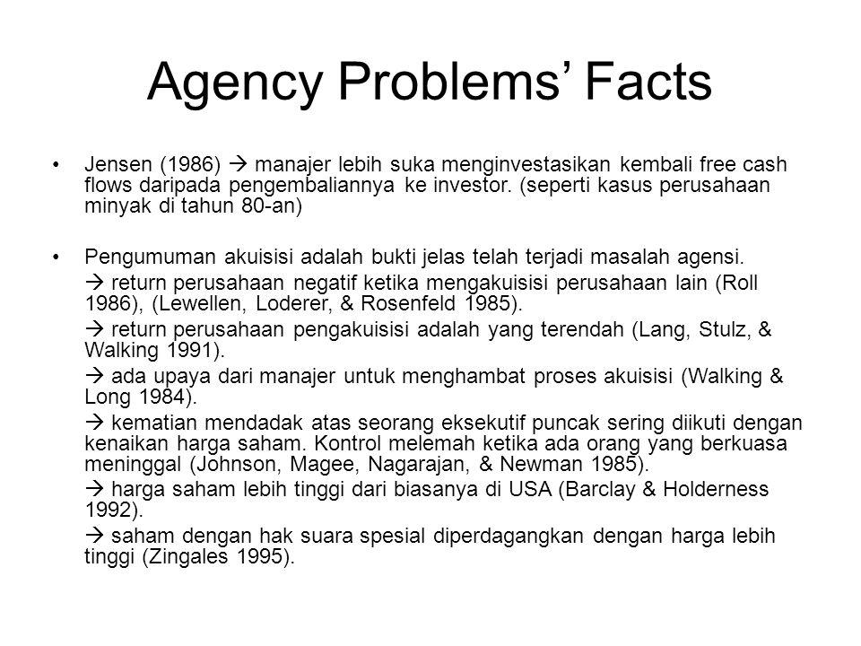 Agency Problems' Facts Jensen (1986)  manajer lebih suka menginvestasikan kembali free cash flows daripada pengembaliannya ke investor. (seperti kasu